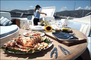 Luxury lunch on a yacht near Ibiza